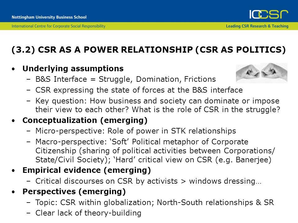 (3.2) CSR AS A POWER RELATIONSHIP (CSR AS POLITICS)