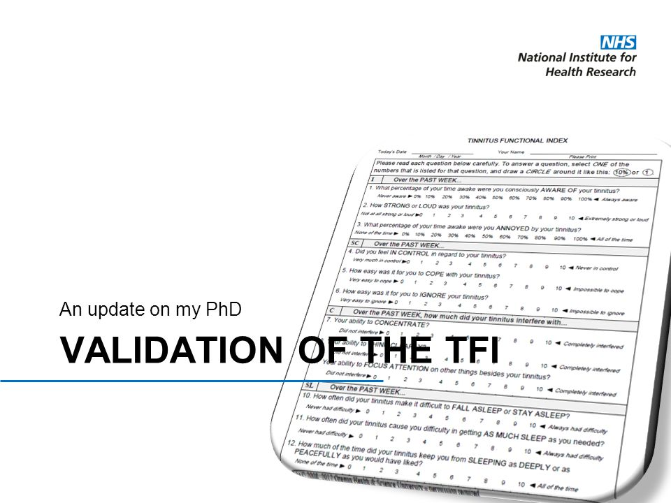 An update on my PhD Validation of the TFI