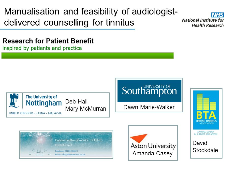 Manualisation and feasibility of audiologist-delivered counselling for tinnitus
