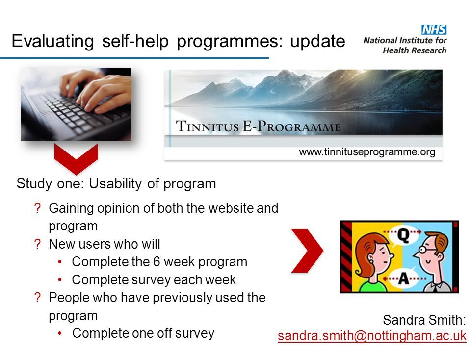 Evaluating self-help programmes: update