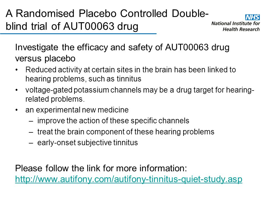 A Randomised Placebo Controlled Double- blind trial of AUT00063 drug