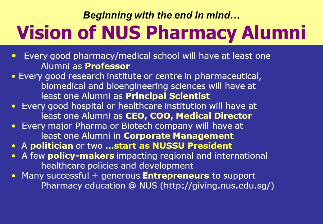 Beginning with the end in mind… Vision of NUS Pharmacy Alumni
