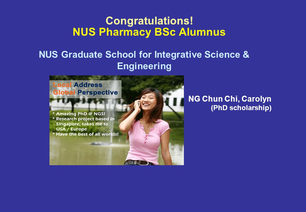 Congratulations! NUS Pharmacy BSc Alumnus