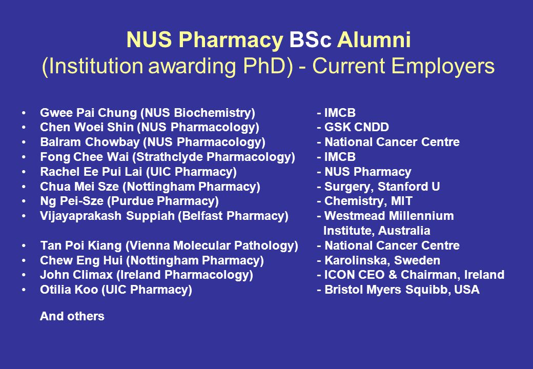 NUS Pharmacy BSc Alumni