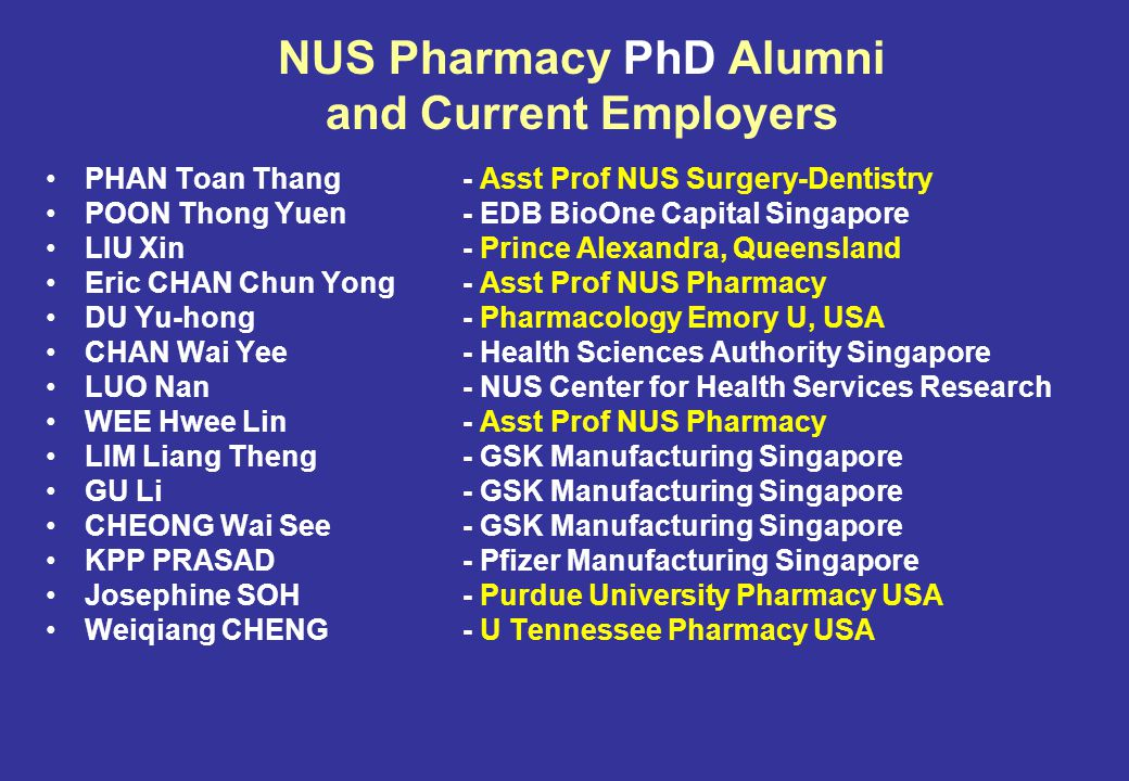 NUS Pharmacy PhD Alumni