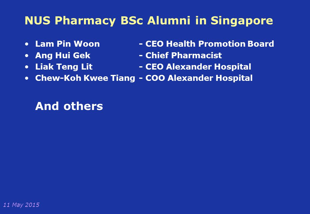 NUS Pharmacy BSc Alumni in Singapore