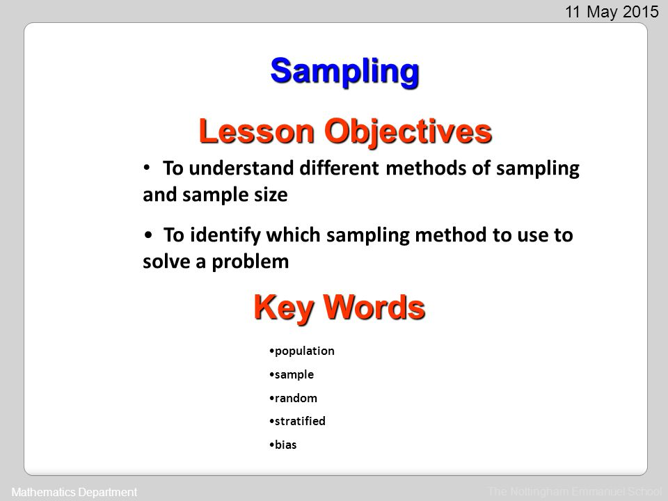 Sampling Lesson Objectives Key Words