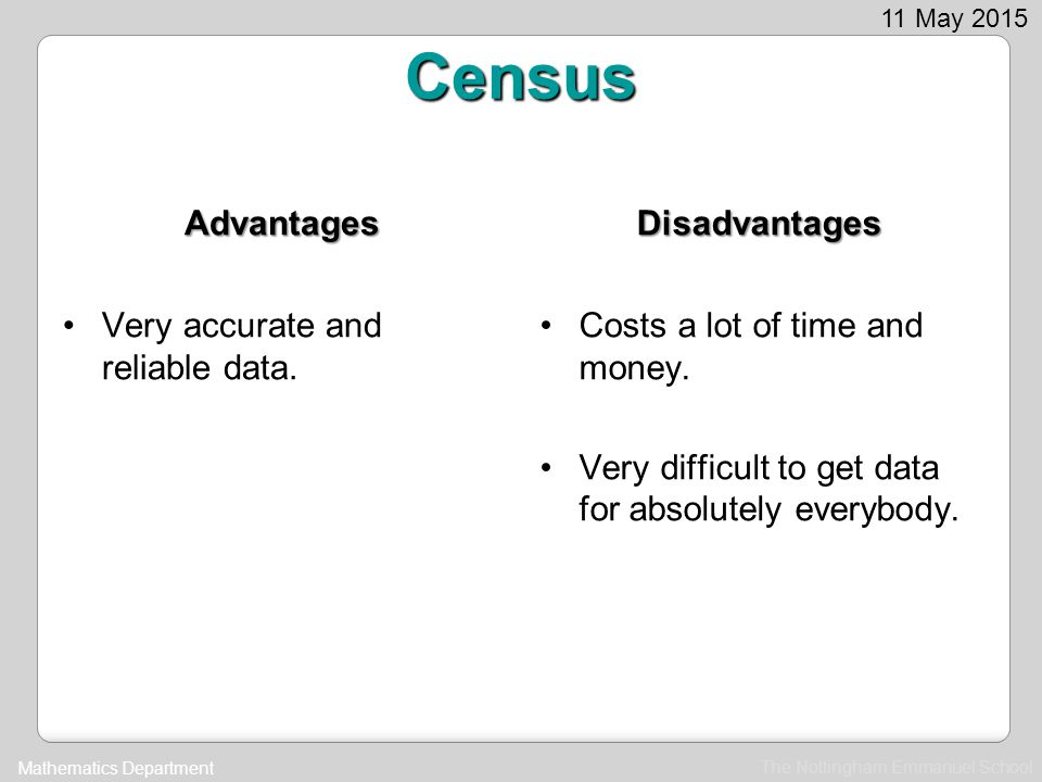 Census Advantages Disadvantages Very accurate and reliable data.