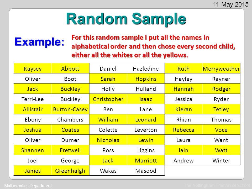 Random Sample Example:
