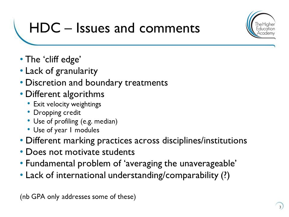HDC – Issues and comments