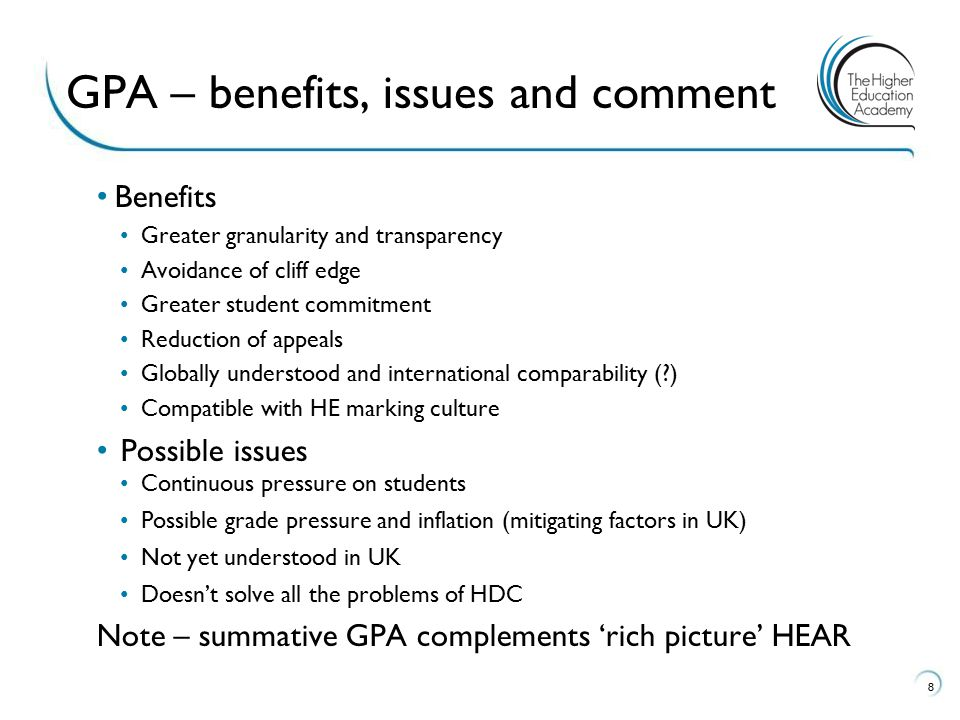 GPA – benefits, issues and comment