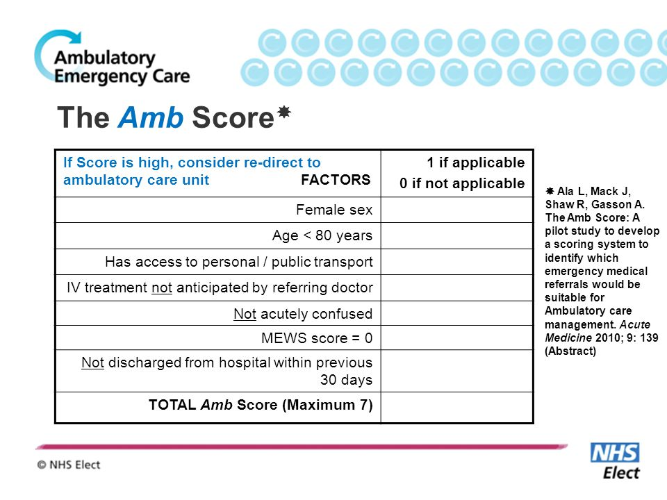 The Amb Score If Score is high, consider re-direct to ambulatory care unit FACTORS.