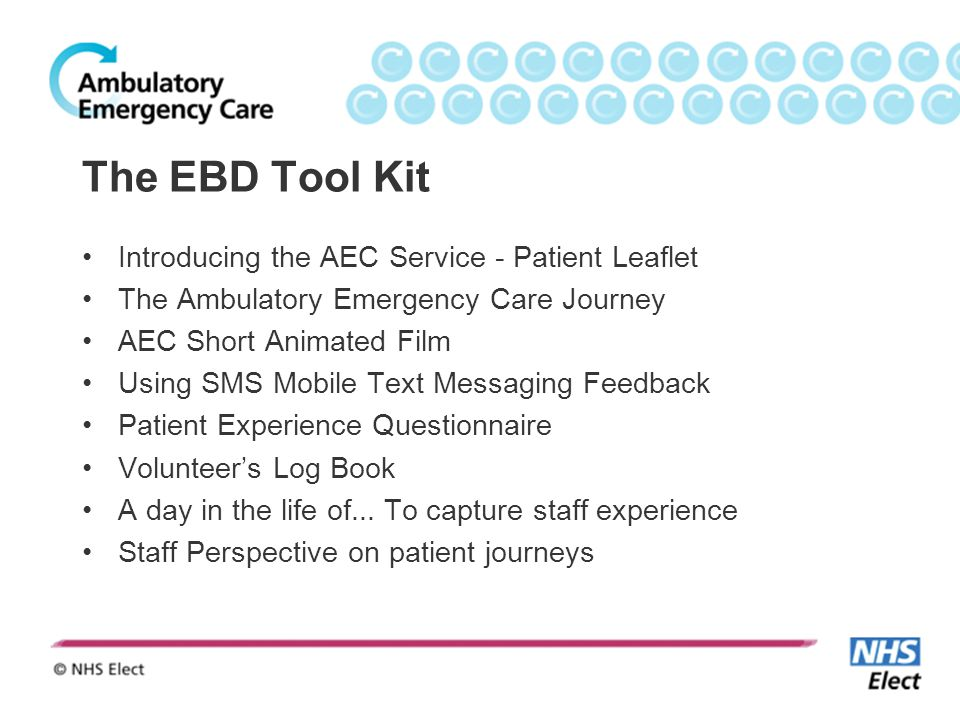 The EBD Tool Kit Introducing the AEC Service - Patient Leaflet