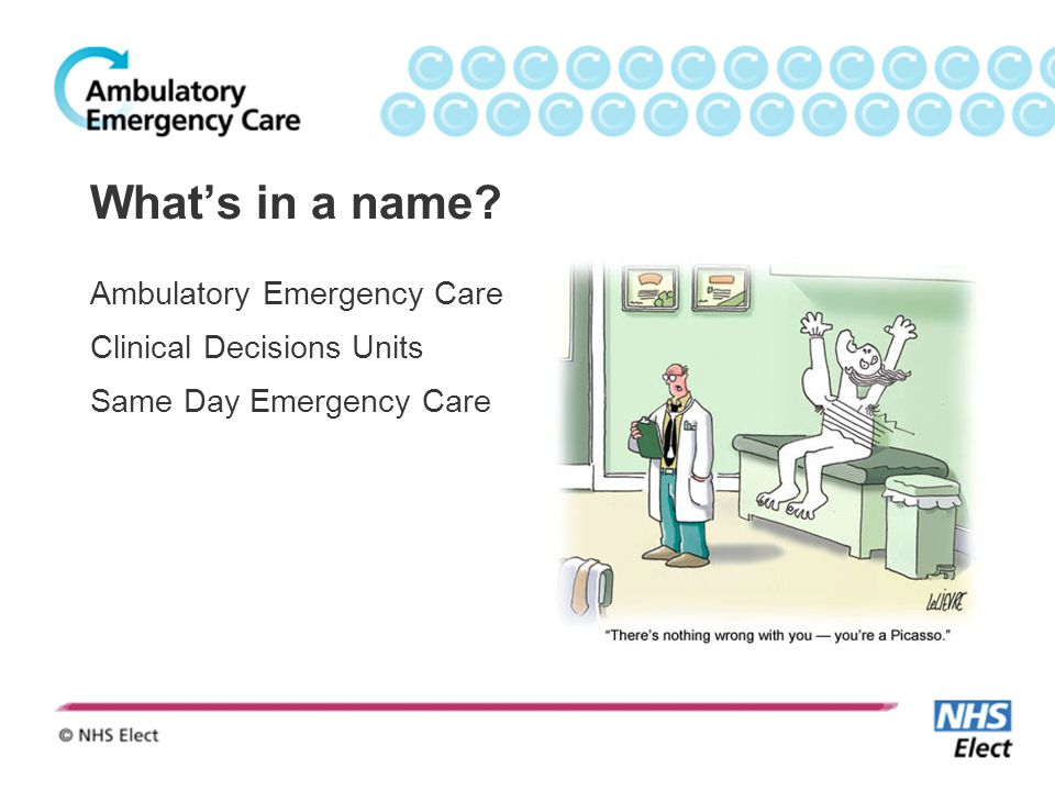 What's in a name Ambulatory Emergency Care Clinical Decisions Units Same Day Emergency Care