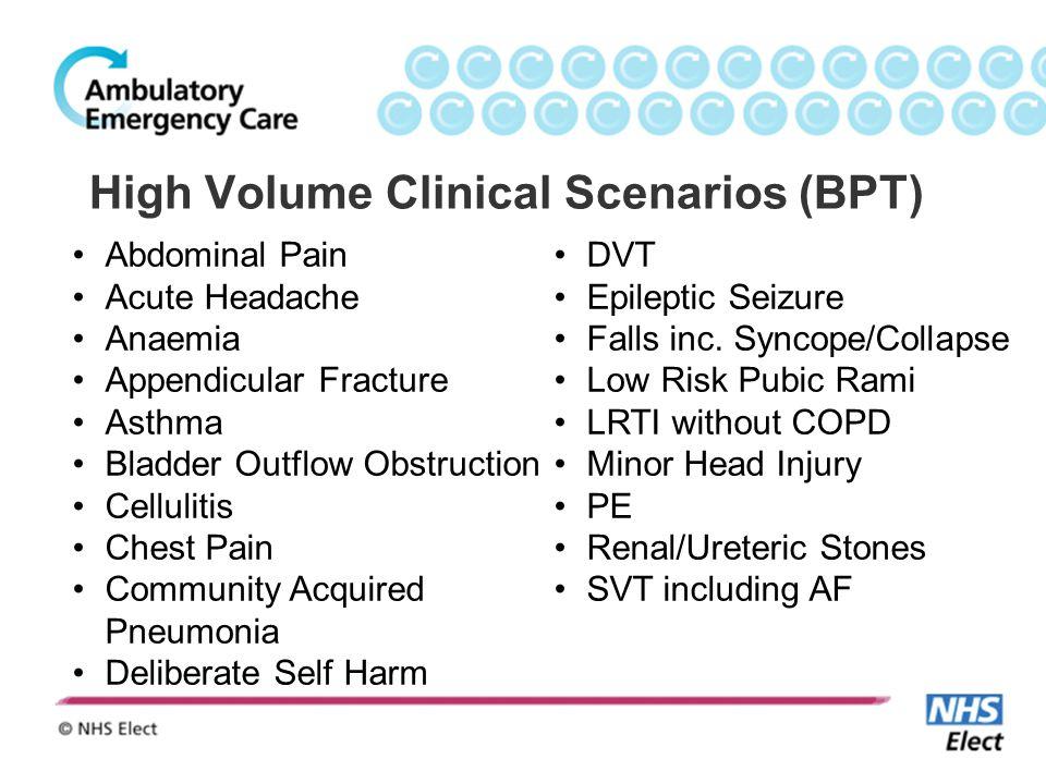 High Volume Clinical Scenarios (BPT)