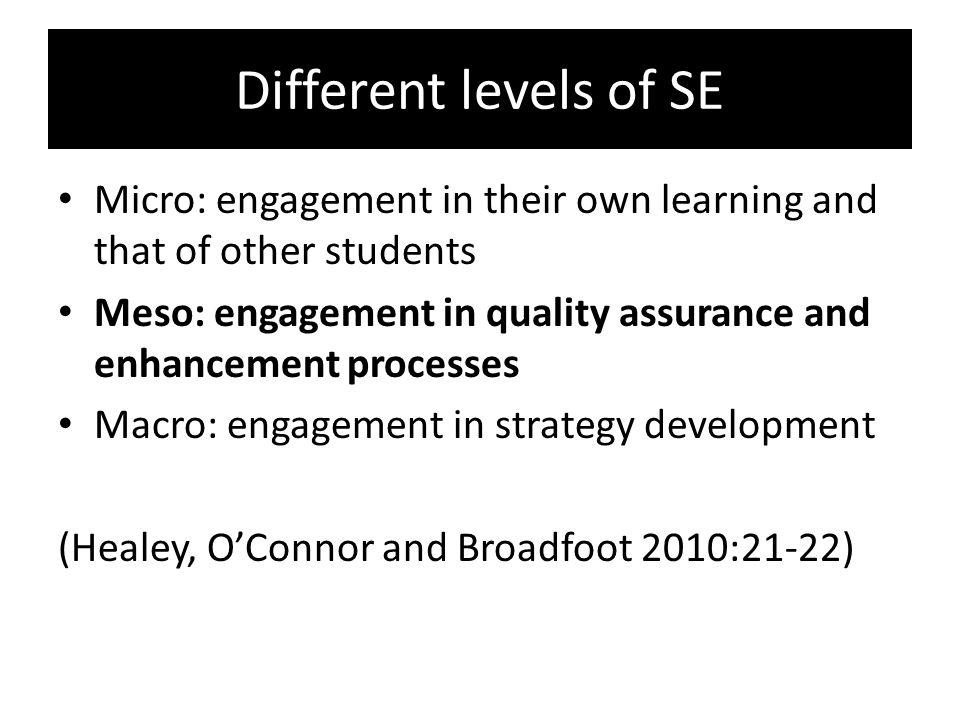 Different levels of SE Micro: engagement in their own learning and that of other students.