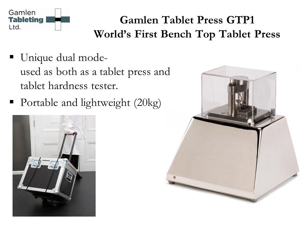 Gamlen Tablet Press GTP1 World's First Bench Top Tablet Press