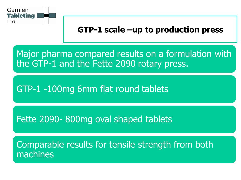 GTP-1 scale –up to production press