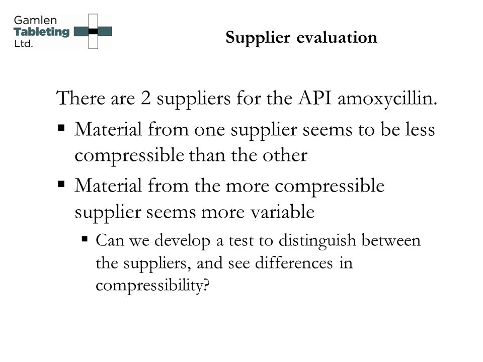 There are 2 suppliers for the API amoxycillin.