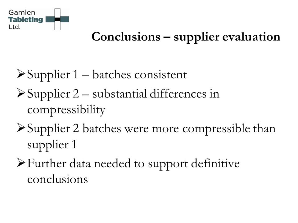 Conclusions – supplier evaluation