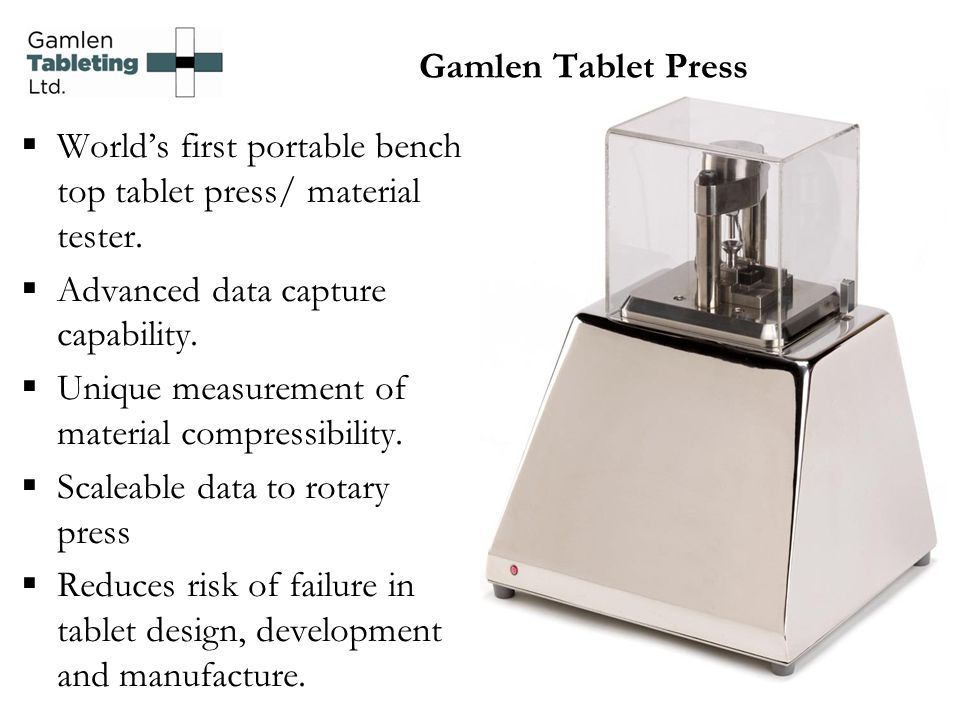 World's first portable bench top tablet press/ material tester.