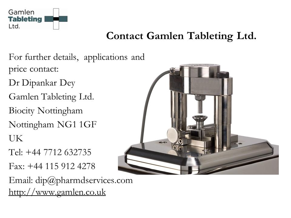 Contact Gamlen Tableting Ltd.
