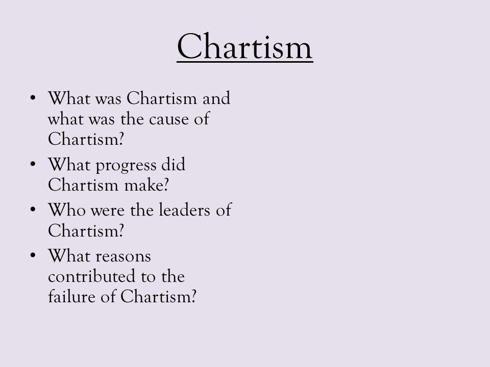 Chartism What was Chartism and what was the cause of Chartism