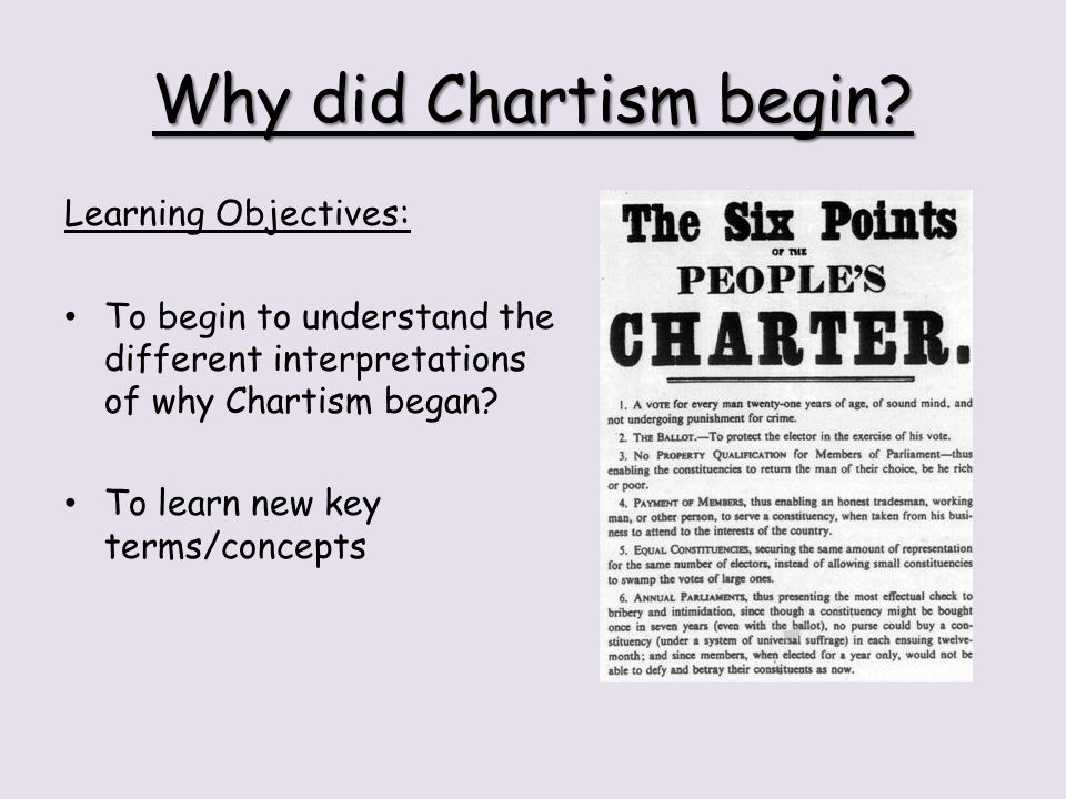 Why did Chartism begin Learning Objectives: