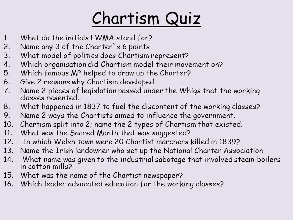 Chartism Quiz What do the initials LWMA stand for