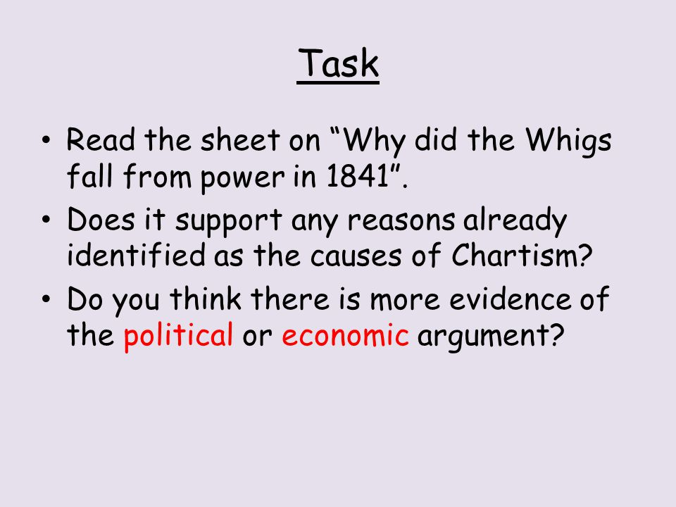 Task Read the sheet on Why did the Whigs fall from power in 1841 .