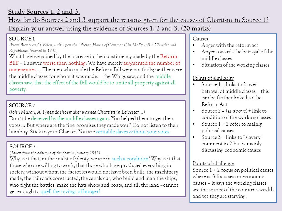Study Sources 1, 2 and 3. How far do Sources 2 and 3 support the reasons given for the causes of Chartism in Source 1