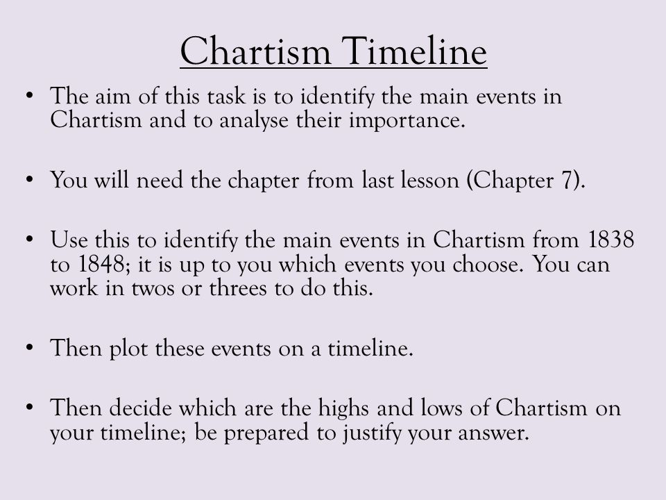 Chartism Timeline The aim of this task is to identify the main events in Chartism and to analyse their importance.