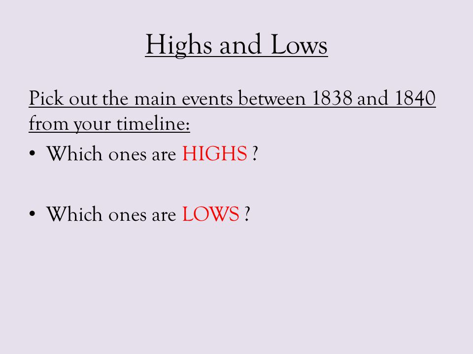 Highs and Lows Pick out the main events between 1838 and 1840 from your timeline: Which ones are HIGHS
