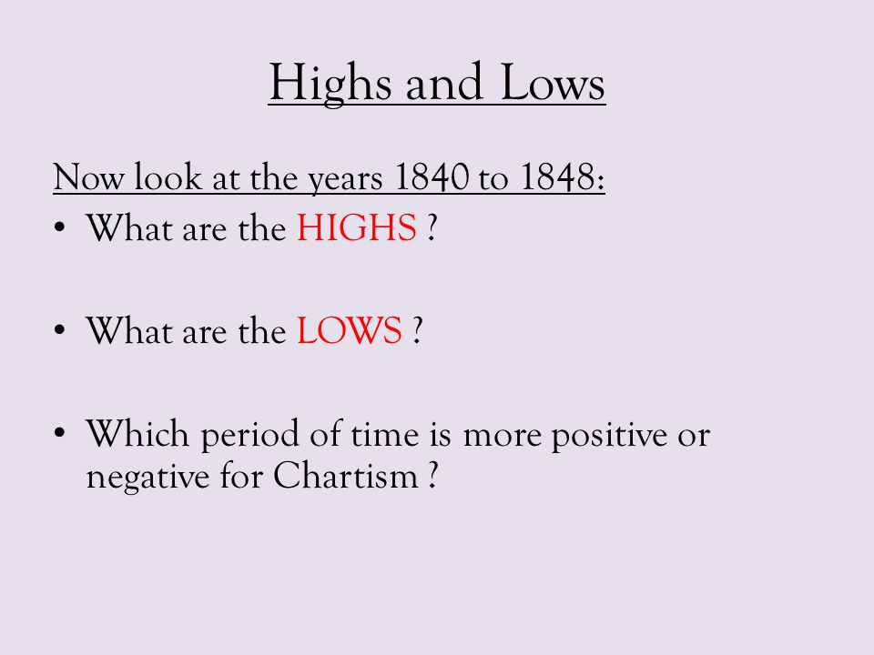 Highs and Lows Now look at the years 1840 to 1848: