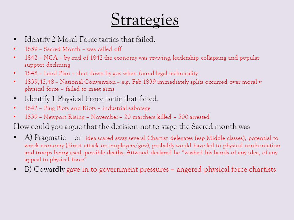 Strategies Identify 2 Moral Force tactics that failed.