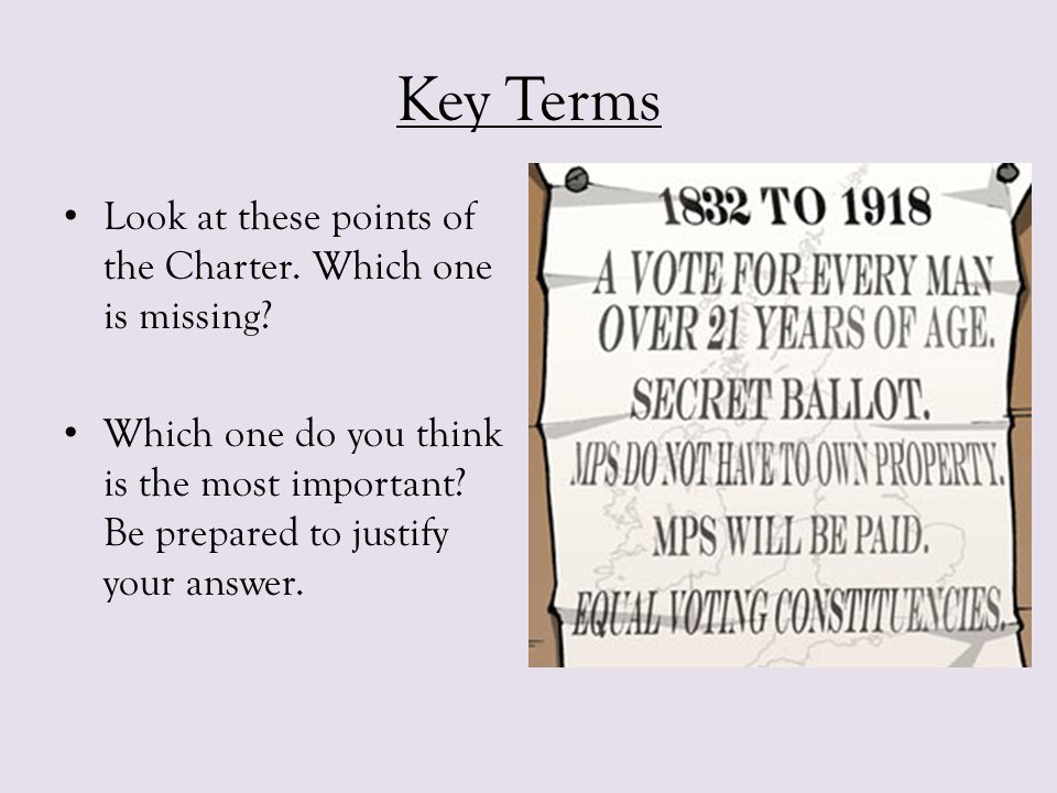 Key Terms Look at these points of the Charter. Which one is missing