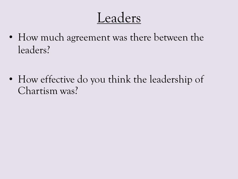 Leaders How much agreement was there between the leaders