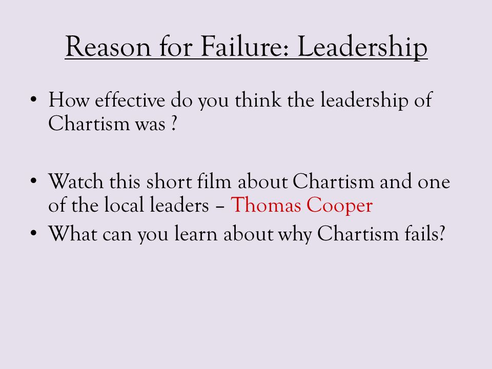 Reason for Failure: Leadership