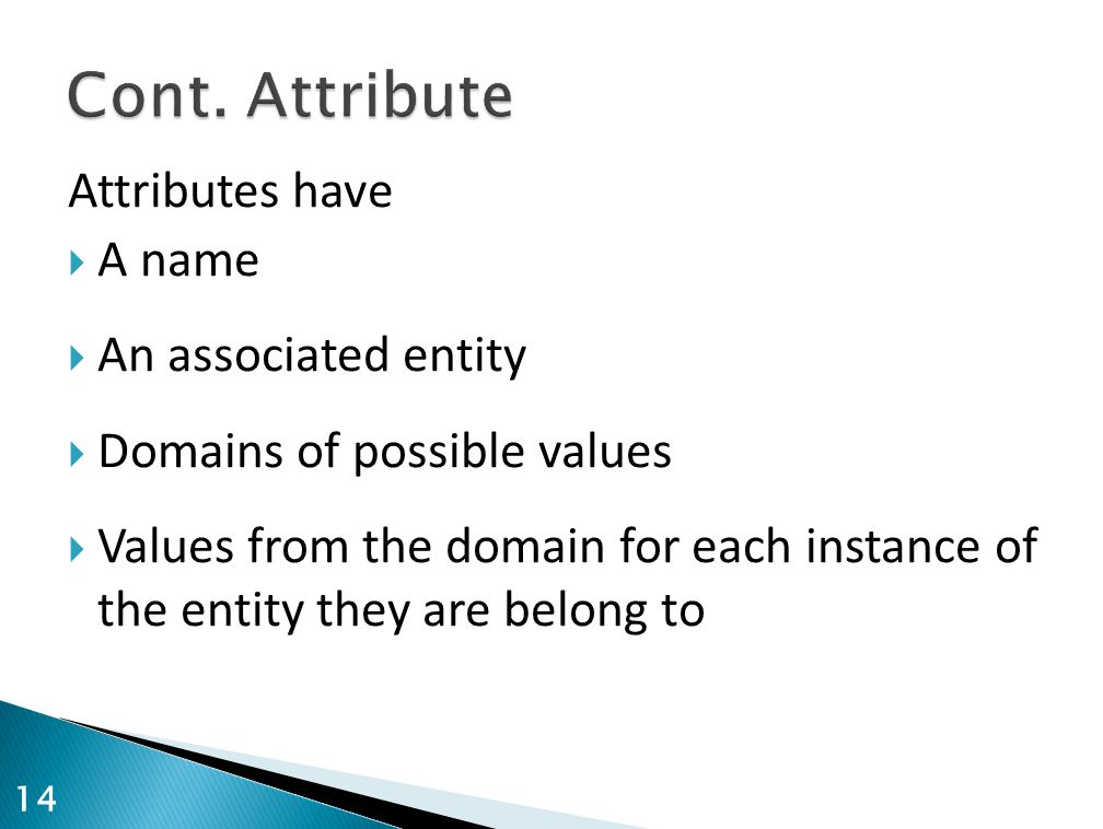 Cont. Attribute Attributes have A name An associated entity