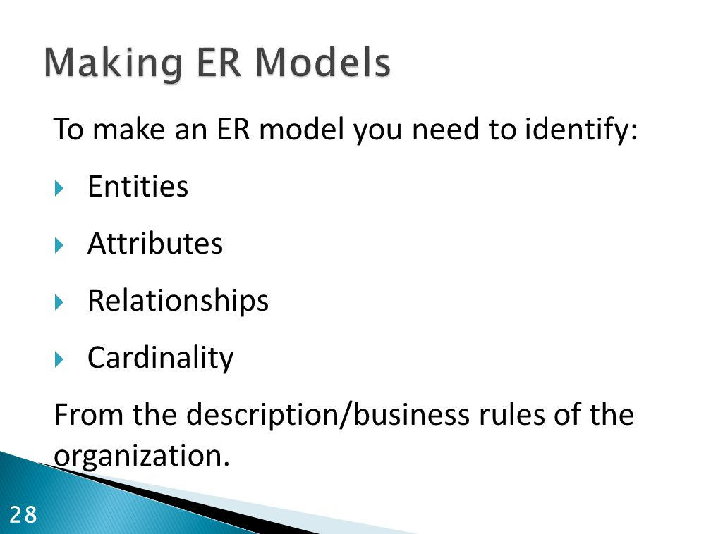 Making ER Models To make an ER model you need to identify: Entities