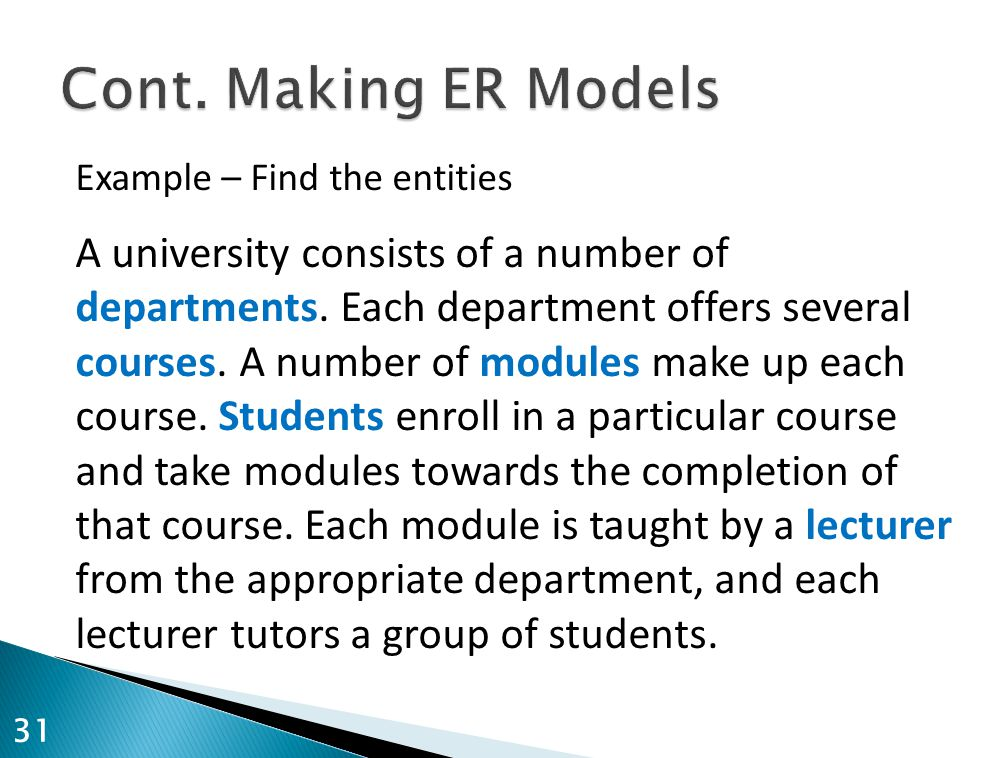 Cont. Making ER Models Example – Find the entities.