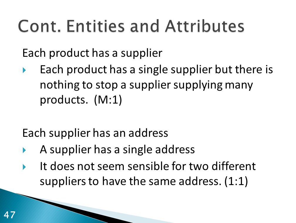 Cont. Entities and Attributes