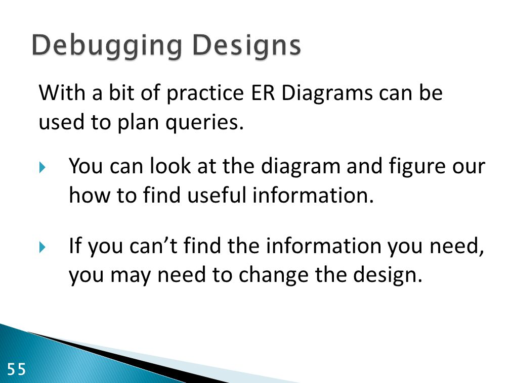 Debugging Designs With a bit of practice ER Diagrams can be used to plan queries.