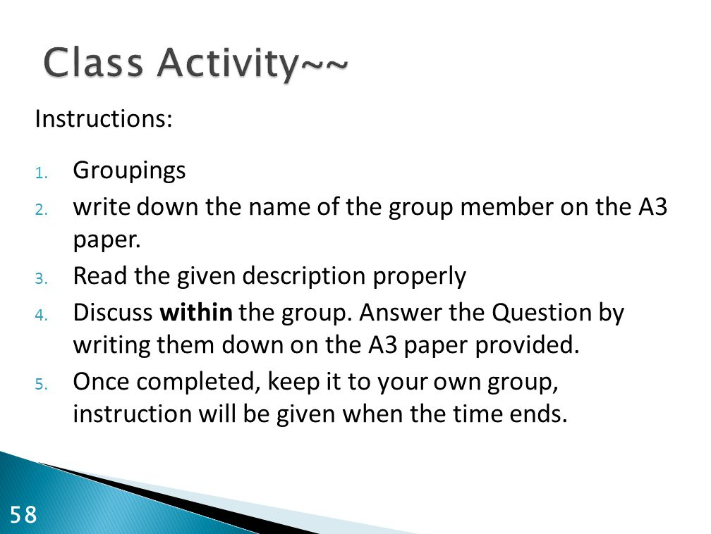 Class Activity~~ Instructions: Groupings