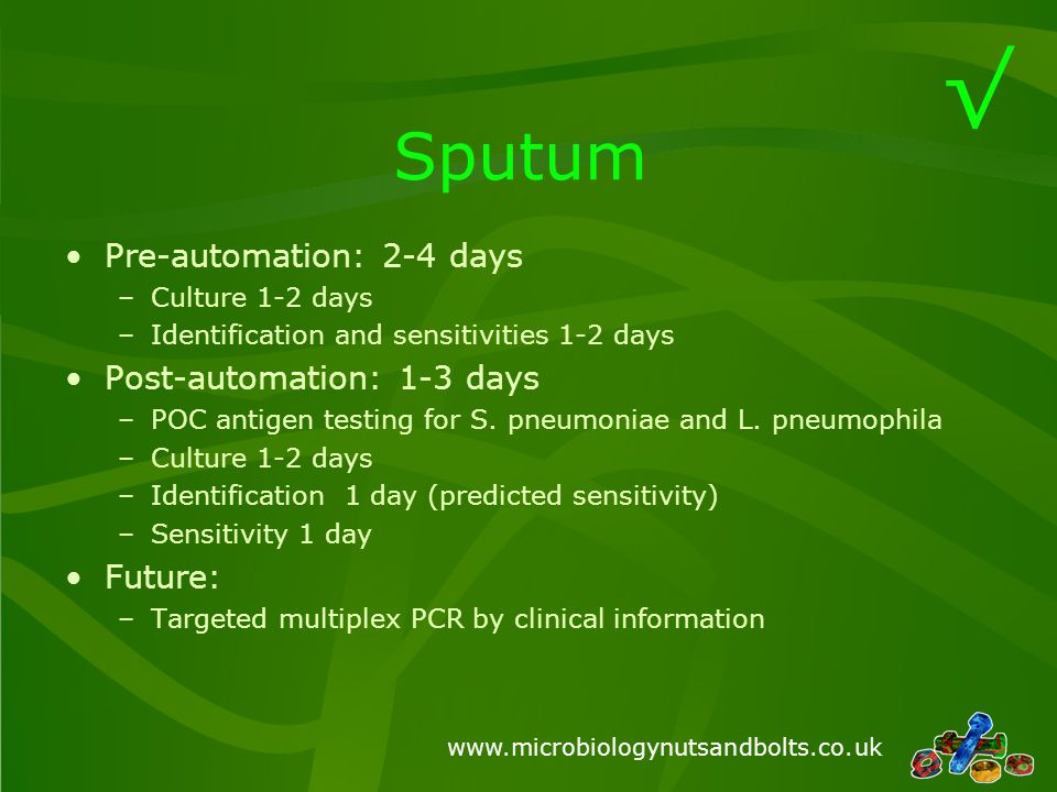 √ Sputum Pre-automation: 2-4 days Post-automation: 1-3 days Future: