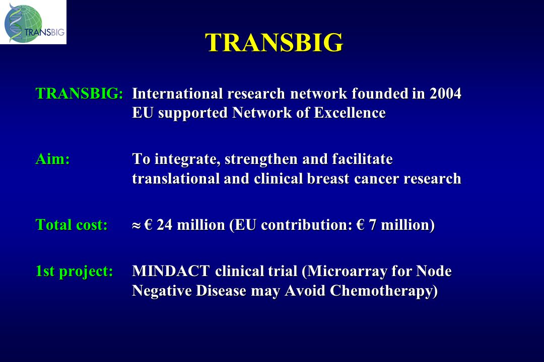 TRANSBIG TRANSBIG: International research network founded in 2004 EU supported Network of Excellence.