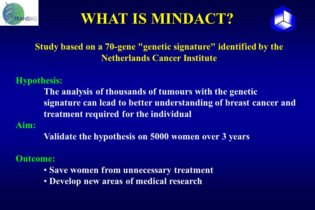 WHAT IS MINDACT Study based on a 70-gene genetic signature identified by the Netherlands Cancer Institute.