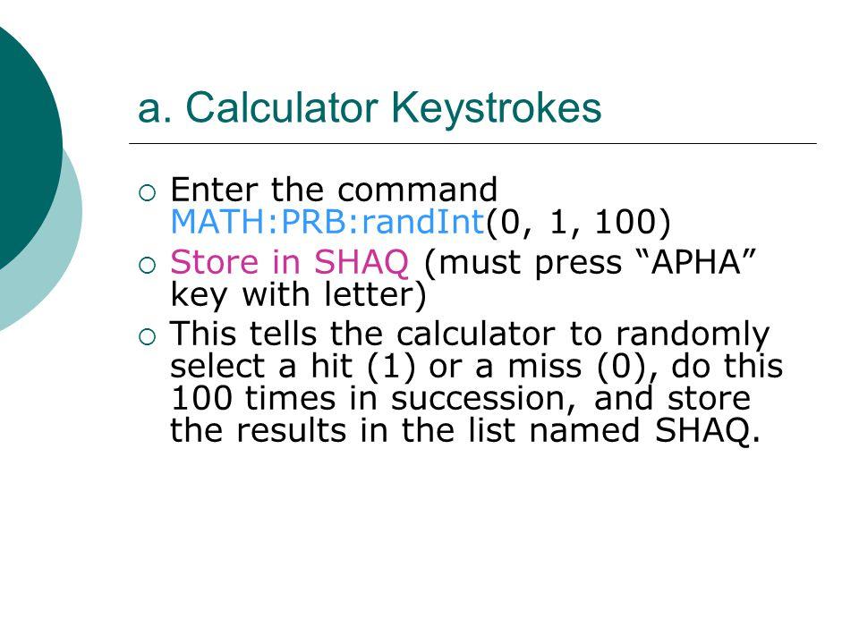 a. Calculator Keystrokes