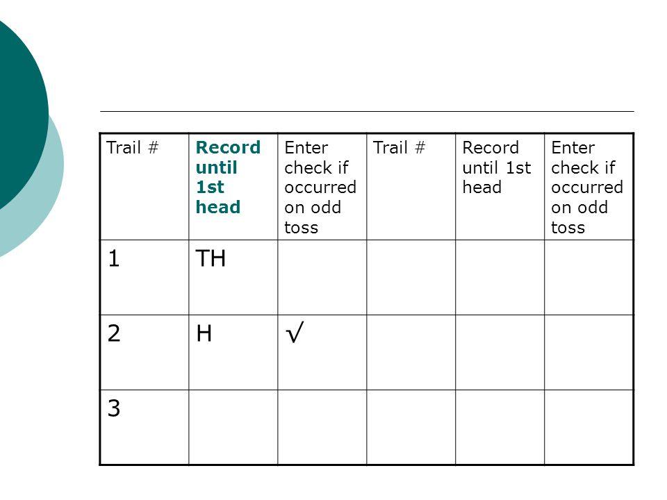 1 TH 2 H √ 3 Trail # Record until 1st head