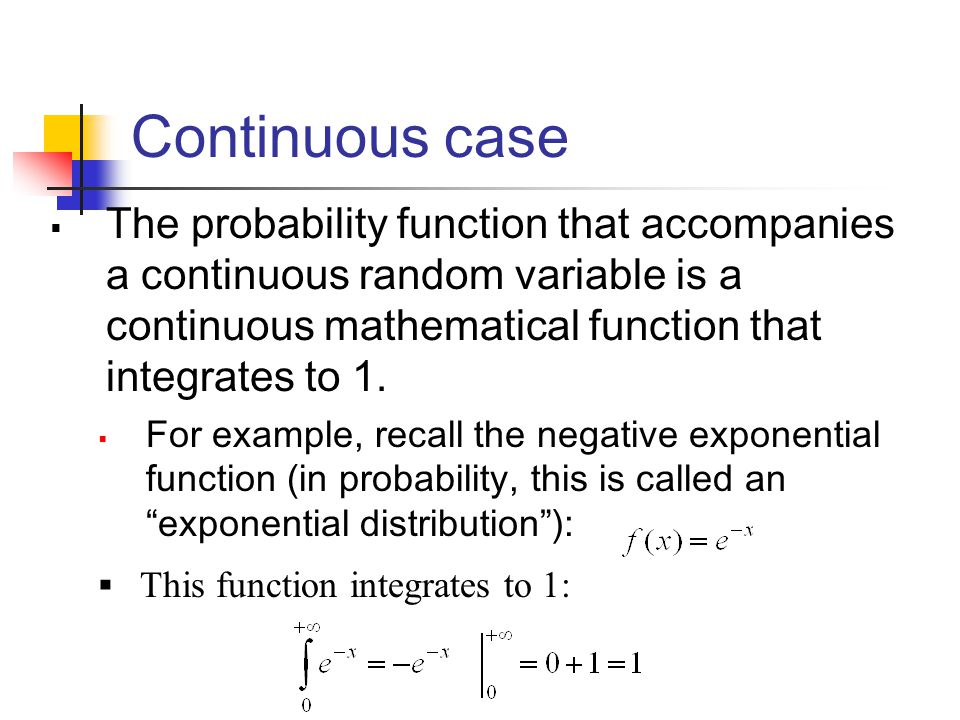 Continuous case The probability function that accompanies a continuous random variable is a continuous mathematical function that integrates to 1.